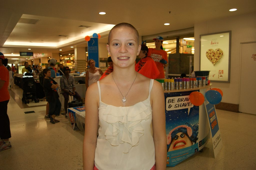 Lara James braved the shave at World's Greatest Shave at Stockland Gladstone.