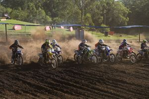 Senior riders competing yesterday in the Shell Advance Sunshine State MX Series at Echo Valley.
