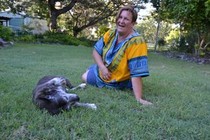 Vivien Macbeth with her spoilt 14-year-old staffy,Tika, who won over hearts. Photos: Melanie Maeseele March 2013 contributed