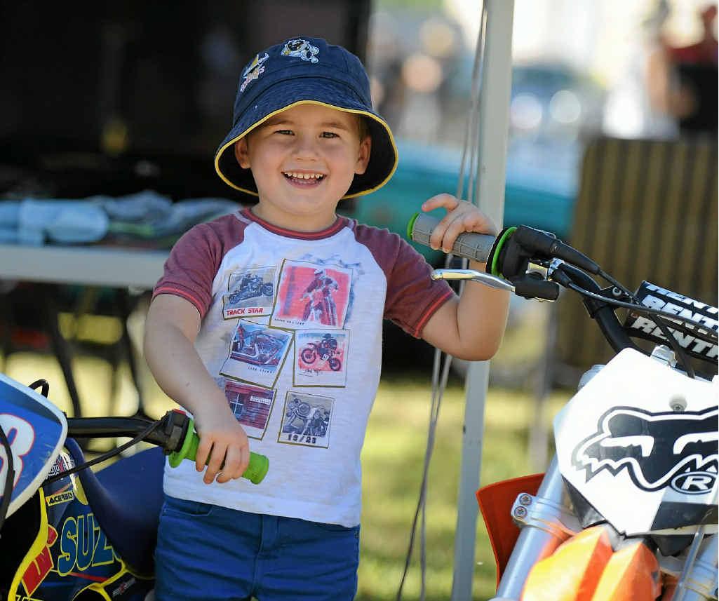 Deakin Assman-Sullivan, 3, gets revved up in the motorbike display.