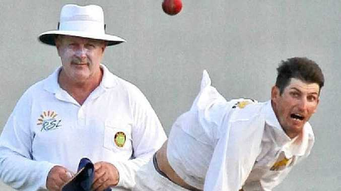 Gympie Gold bowler Troy Ashton against Caboolture.