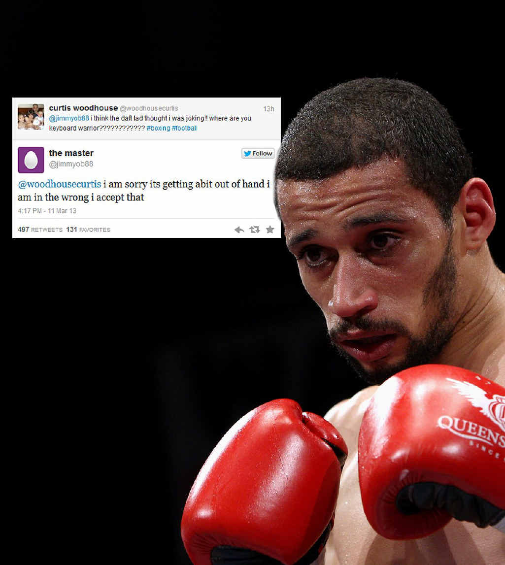 FIGHTING BACK: Boxer Curtis Woodhouse takes aim at his troll.