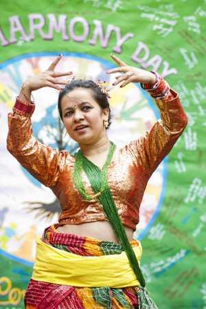 Neelam Adhikari gets into the spirit of Harmony Day at USQ.