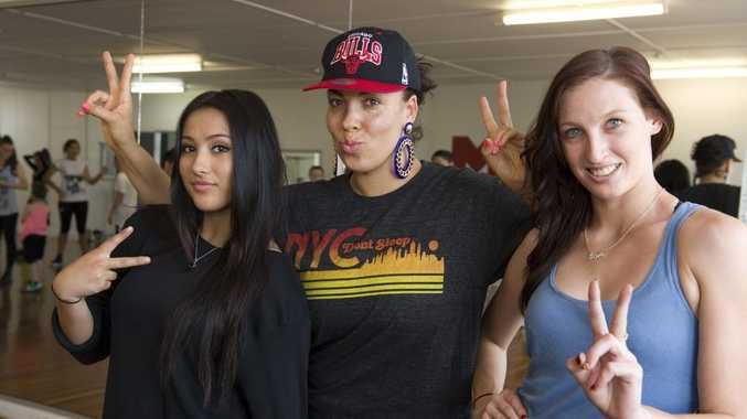 Deni Marks (left) and Sheridan Francis at a workshop with international hip-hop dance teacher Kumari Suraj (centre)
