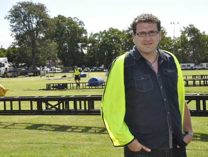 Easterfest director David Schenk oversees the first stages of construction at Queens Park.