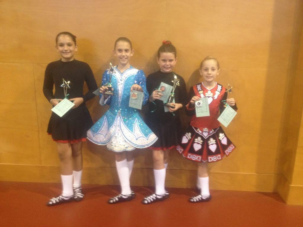 (L-R) Kasi Richardson, Natalie Brandon, Olivia Tudman, Amber Brennan travelled to Mackay on March 16 for the International Dance Affair Autumn Feis.