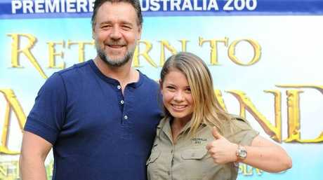 Russell Crowe and Bindi Irwin at the screening premiere of Return to Nim's Island at Australia Zoo.