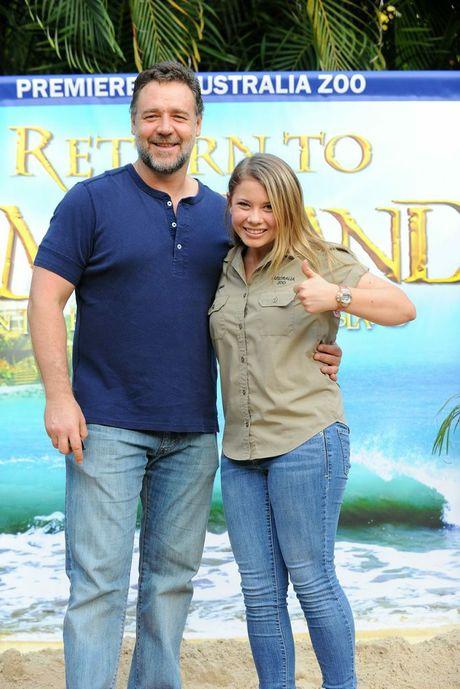 Russell Crowe and Bindi Irwin at the screening premiere of Return to Nim's Island at Australia Zoo.