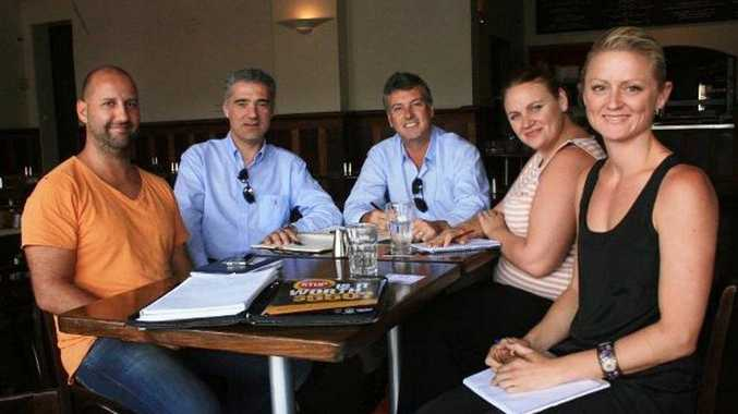 Beach Hotel manager Wayne Van Haandel (left), AHA chief executive Paul Nicolaou, AHA director policing, regulations and membership John Green, Hannah Spalding from the Byron Liquor Accord and Amber Jones, licensee at the Great Northern Hotel.