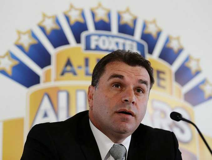 Ange Postecoglou addresses the media after being announced as coach of the Foxtel A-League All Stars to face Manchester United during a FFA All-Stars announcement at Blu Horizon on March 18, 2013 in Sydney, Australia.