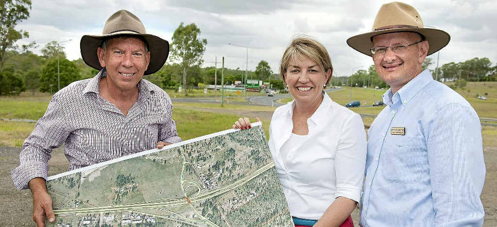 BIG PROJECT: Premier Anna Bligh, with then State Member for Ipswich West Wayne Wendt (left) and Federal Member for Blair Shayne Neumann announcing the start of the tender process for the Blacksoil Interchange upgrade on January 14, 2012.