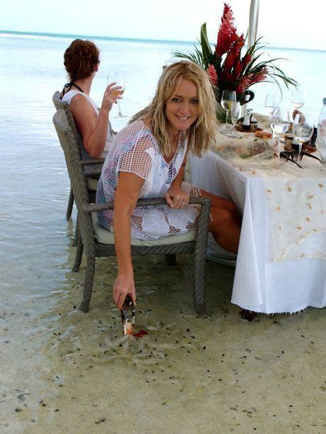 Australian radio personality Jackie O on Hilton Bora Bora's private island Motu Tapu.