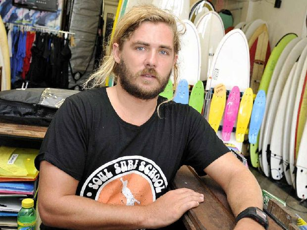 GOOD SAMARITAN: Soul Surf School owner Sean Riley of Suffolk Park had his wallet stolen from the beach at Byron Bay while he was rescuing two tourists.