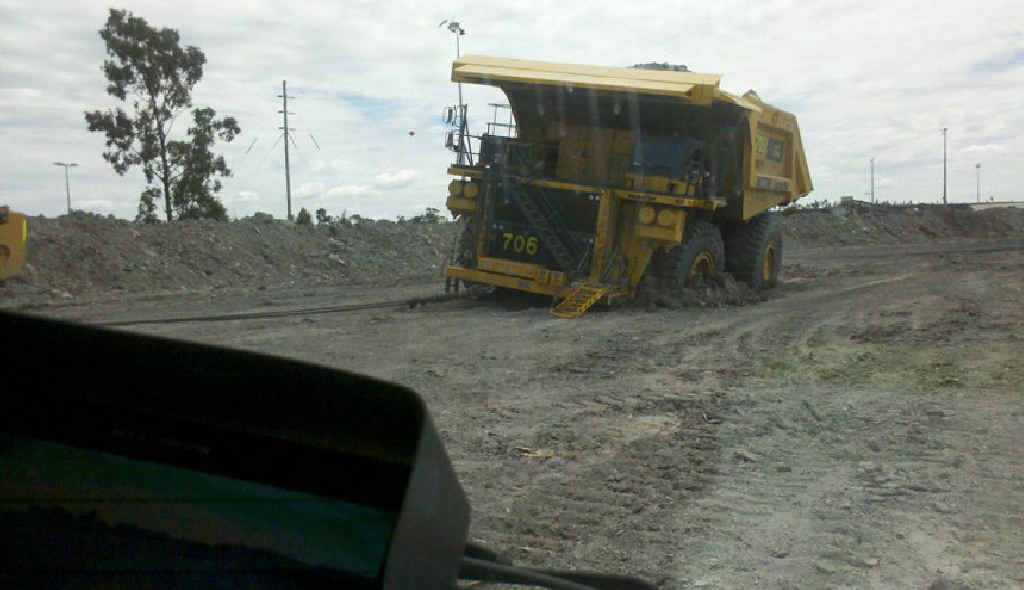A truck gets stuck at Goonyella-Riverside mine.