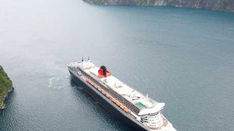 The Queen Mary 2 sailed the waters of Milford Sound on March 16.