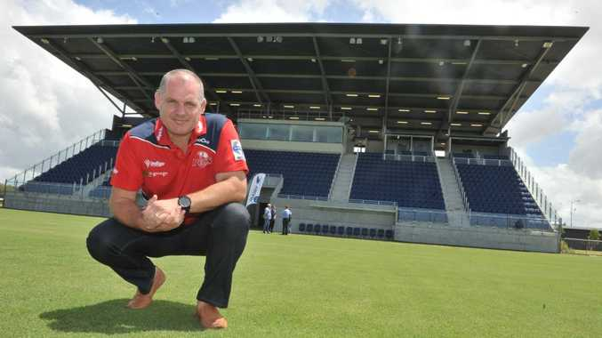 Queensland Reds coach Ewen McKenzie inspects Stockland Stadium for a potential Super Rugby trial. Photo: John McCutcheon / Sunshine Coast Daily.