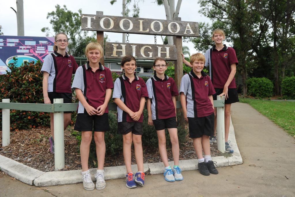 Settling into Year 7 at Toolooa State High are (from left) Lily Furness, Declan Hage, Caleb Holmwood, Gracie Martin, Dylan Emmerton and Merin Ward.
