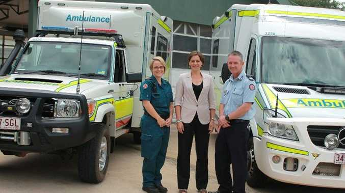 Paramedic Amy Bellchambers, Member for Nanango Deb Frecklington and Assistant Commissioner Michael Metcalfe at hand-over ceremony at Crows Nest Ambulance Station.