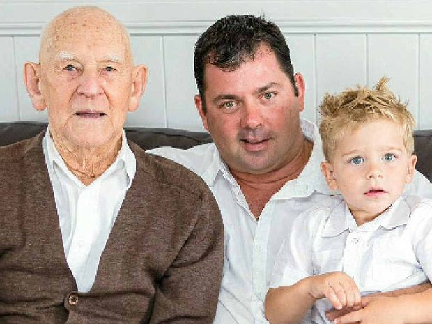 Patrick Ward was joined by grandson Scott Smoothey and great grandson Lachlan Smoothey for his 100th birthday.