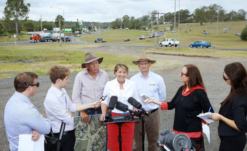 DIFFERENT REGIME: Former premier Anna Bligh, then State Member for Ipswich West Wayne Wendt, and Federal Member for Blair Shayne Neumann announce the start of the tender process on January 14, 2012.