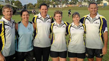 TOP EFFORT: Celebrating their notable efforts on the pitch are Lismore Touch Association players (from left) Chris Waring, Nicky Lucy-Davies, Lisa Brown, Lisa Yopp, Kathryn Hofmeyer and Steve Brown.