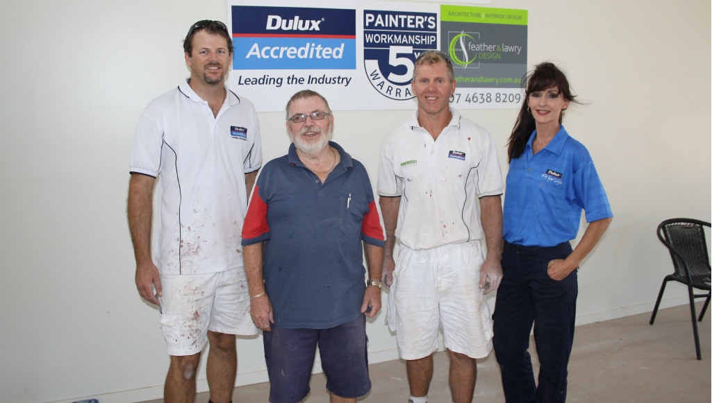 HELPING HANDS: Darren Langerak, South Toowoomba Rotary Club president Bill Mason, Murray Bradford and Raylee Kuhn at the Grantham Butter Factory.