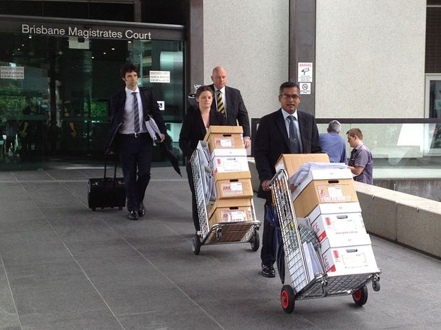 The Crown leaves court after the committal hearing for Gerard Baden-Clay.