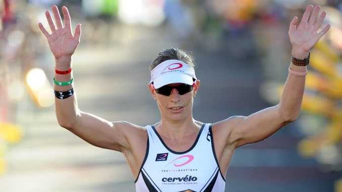Caroline Steffen winning the Australian Ironman in Port Macquarie.