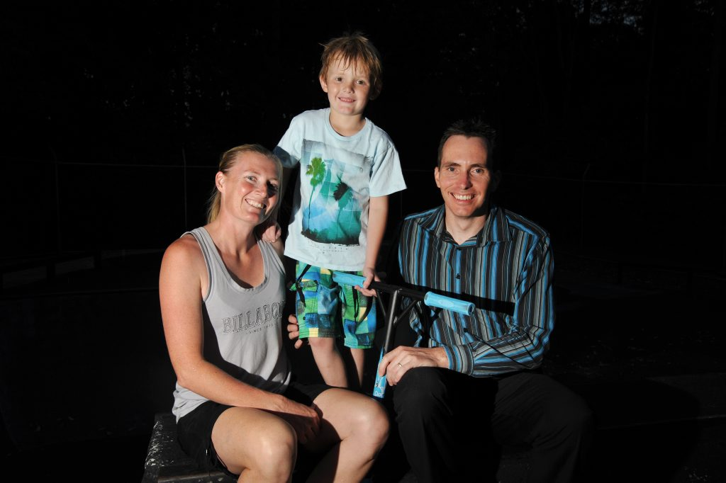 (centre) Samson List, 6, is living with cystic fibrosis but loves sports and being active, pictured here with parents Katrina and Deon.