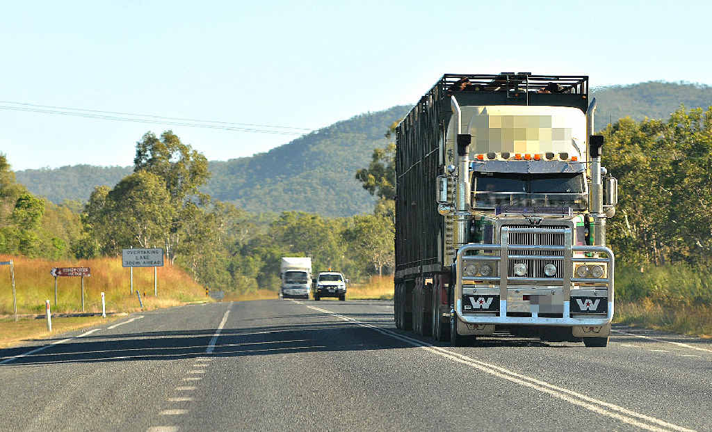 The Peak Downs Highway looking toward Eton Range, where a wide load and a cattle truck clipped each other on Sunday.