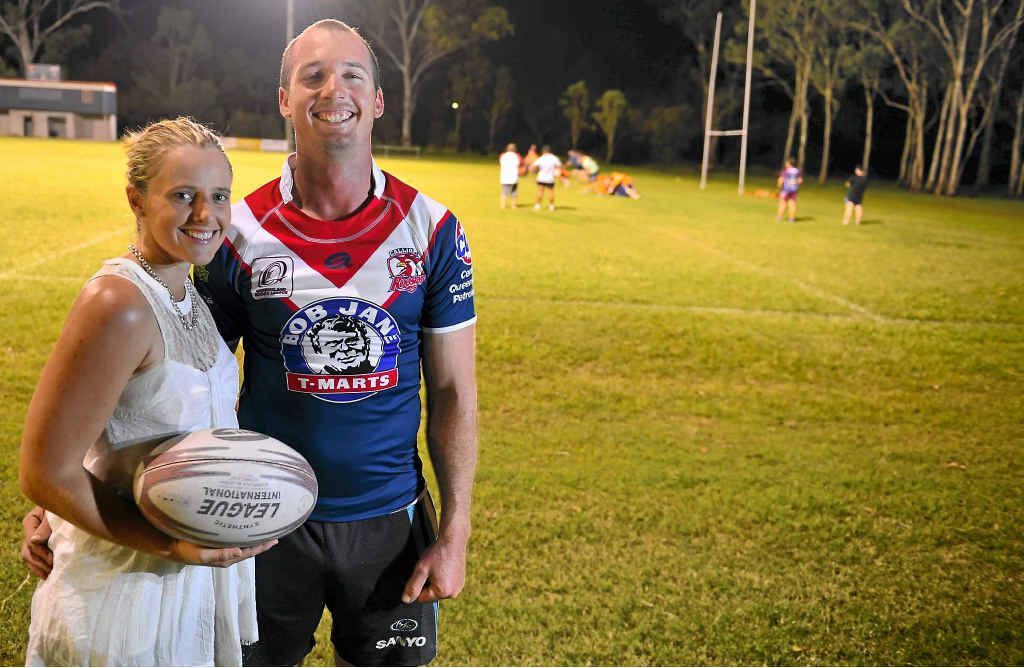 PLAY TIME: Rhiannon and Liam Campbell are looking forward to ladies night at the Calliope rugby league grounds.