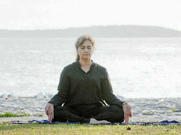 RELAX: Our yoga guru Pushpa Bakshi.