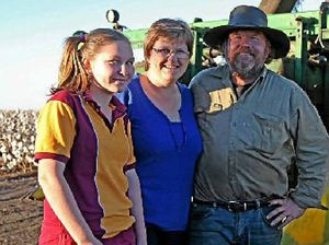 EVERY DROP COUNTS: Anna, Judy and Glen Ogden run a cropping property at Cecil Plains.