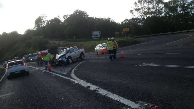 The Pacific Highway has been partially blocked by a crash on the St Helena hill.