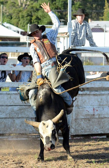 TIGHT GRIP: Chris Whitney of Bonalbo, riding Casper in the top 6 shootout at a previous Mallanganee bull ride.