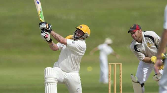 Diggers all-rounder Mick Miller plays a shot on the way to his unbeaten 96 in the TCI A-grade grand final.