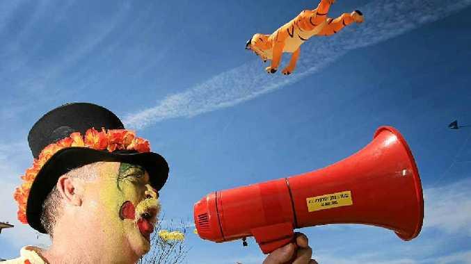HEAR YE: Brunswick Heads Kites and Bikes Festival local Russell Siwicki on the megaphone.