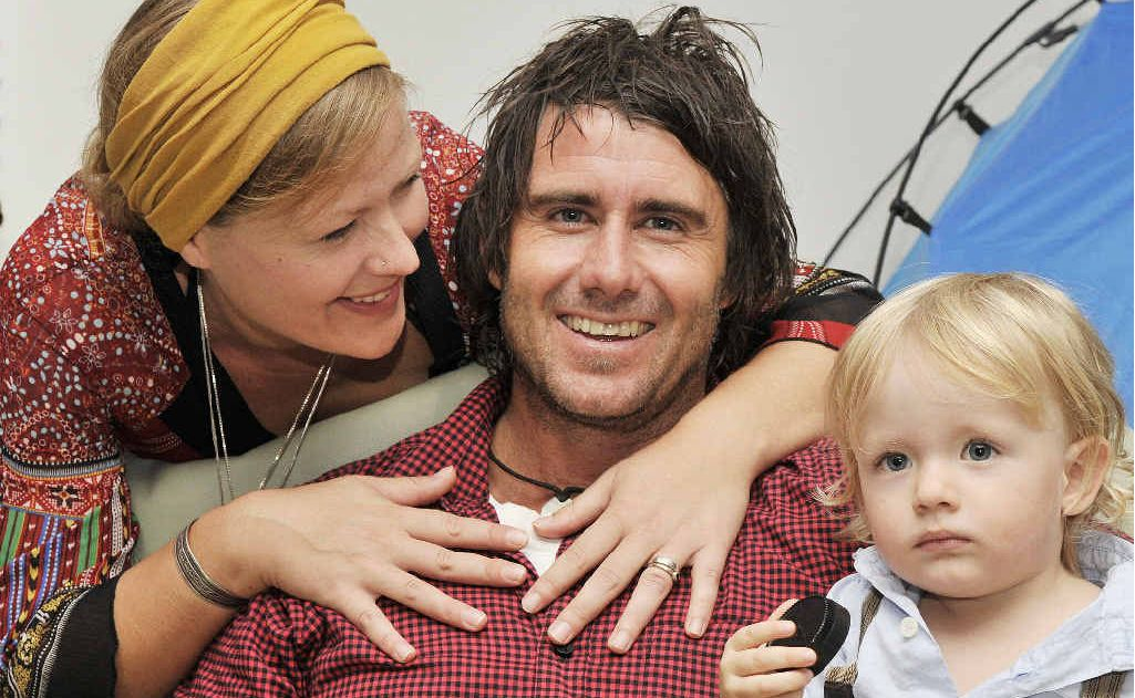 INSTINCT: Bernard McCaffery of East Ballina, pictured with his wife Jess and son Tyler, will receive a bravery award for his part in a surf rescue at Tallow Beach, Byron Bay.