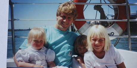 Alan Bristol with his three daughters, Claudia, Holly and Tiffany. Their mum, Christine Bristol, says her lovely, cheeky, friendly, hard-case girls