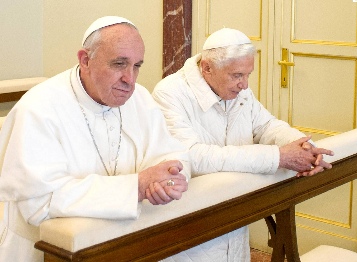 POPE Francis travelled to Rome by helicopter today for lunch with Pope Emeritus Benedict XVI.
