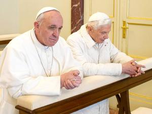 Pope Francis meets Pope Emeritus Benedict XVI