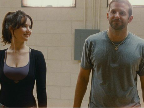 Jennifer Lawrence and Bradley Cooper in a scene from Silver Linings Playbook.