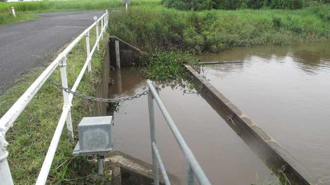 A flood gate on the Richmond River floodplain. Picture courtesy of Richmond River County Council.