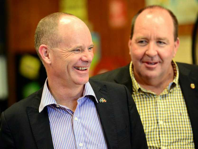 Campbell Newman at the PCYC in Rockhampton announcing a boot camp program. Photo Sharyn O'Neill / The Morning Bulletin