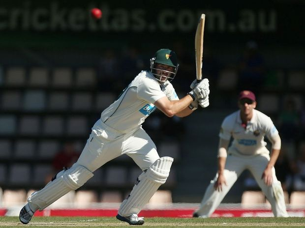Alex Doolan of the Tigers bats during day four of the Sheffield Shield final between the Tasmania Tigers and the Queensland Bulls at Blundstone Arena on March 25, 2013 in Hobart, Australia.