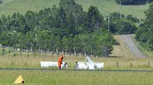 INVESTIGATION: The wreckage of an the Ultralight RV12 plane that crashed on Sunday morning at Lismore Airport.