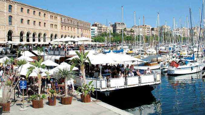 Barcelona's port, bustling and vibrant.