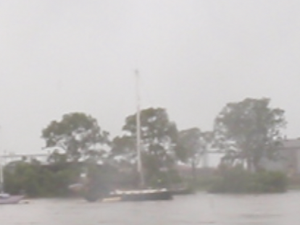 Boats on the Burnett River during the 2010 floods