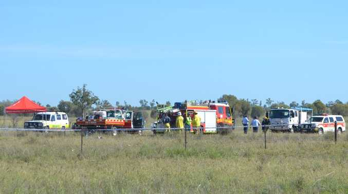 Emergency services on the scene of the plane crash.