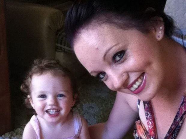 Mum Vicky Green with her daughter Rhylee, almost two months after they lost everything in the January floods.